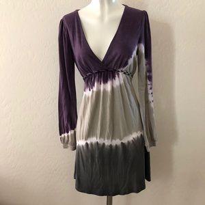 Anama purple tie dye long sleeve dress